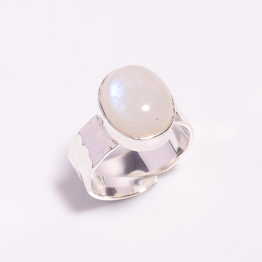 Oval Hammered Band Rainbow Moonstone Sterling Silver Adjustable Ring