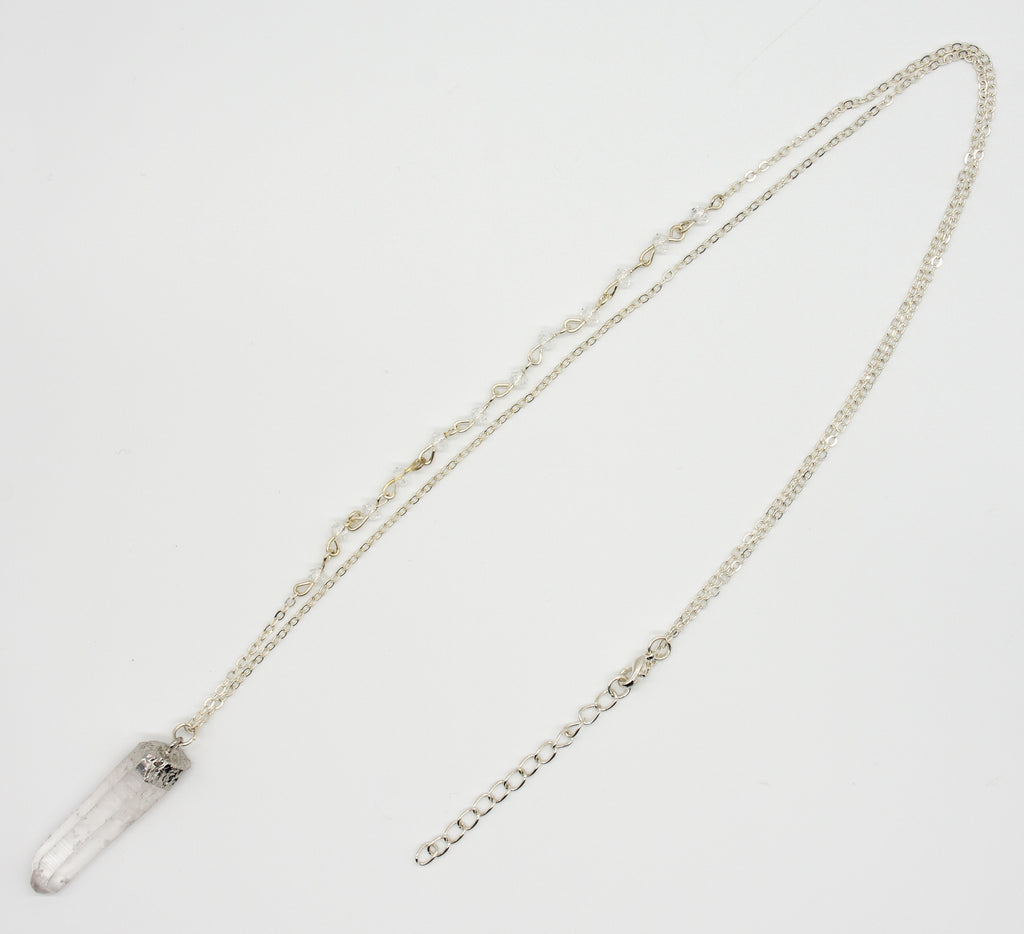 Rough Metallic Clear Quartz Side Beaded Necklace