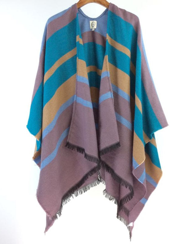 Boho Poncho Horizontal Stripes Pastel Blue & Orange Stripe Free Size