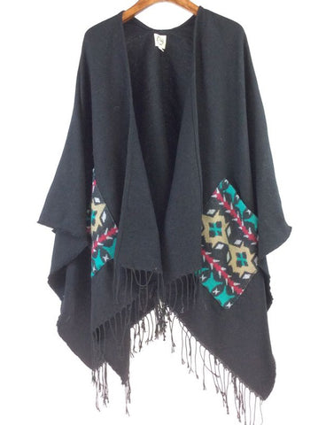 Boho Poncho Burgundy Detailed Pocket Free Size