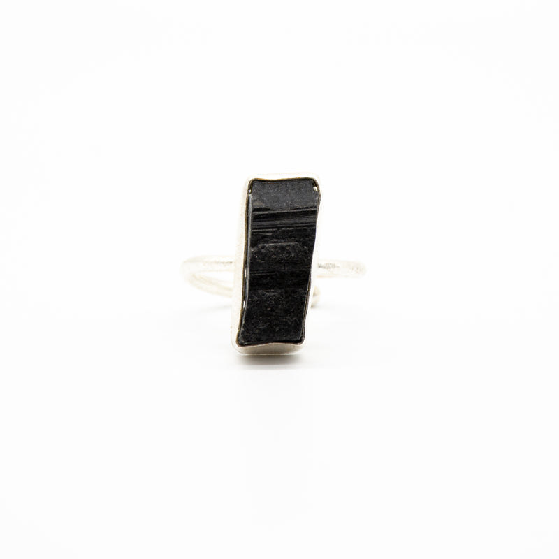 Rough Cut Black Tourmaline Long Rectangle Sterling Silver Adjustable Ring