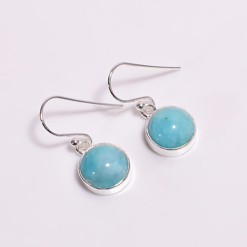 Single Stone Amazonite Sterling Silver Hanging Earrings