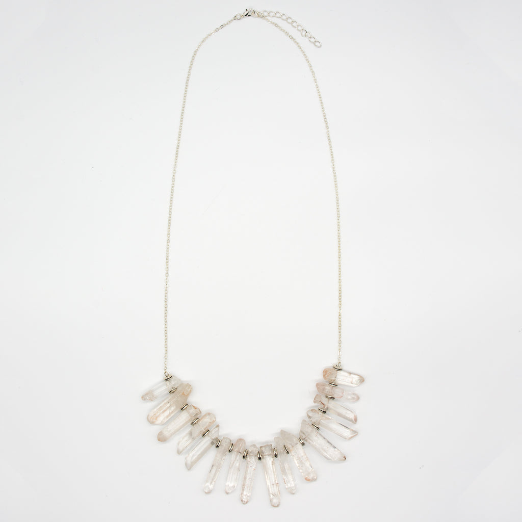 Raw Clear Crystal Multi Spike Necklace