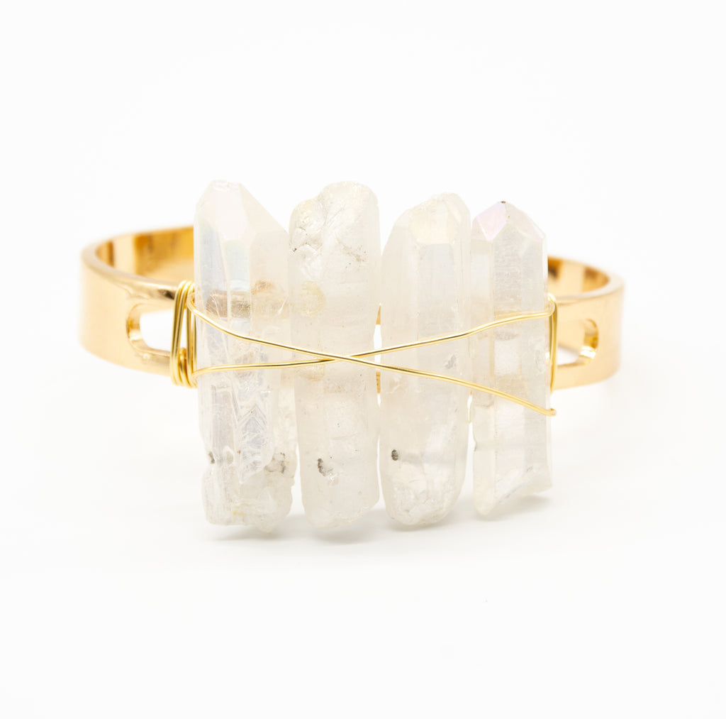 Raw Clear Crystal Quartz Multi Spike Thick Gold Band Cuff Adjustable