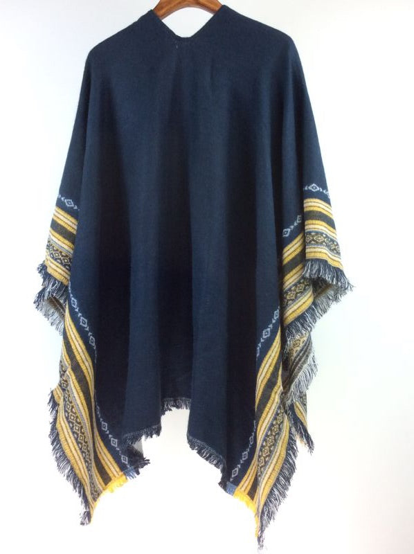 Boho Poncho Blue & Yellow Edges with Tassels Free Size