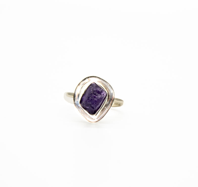 Raw Amethyst Silver Band Sterling Silver Adjustable Ring