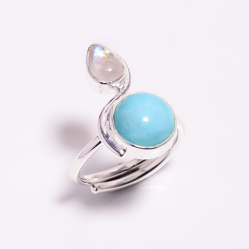 Double Stone Amazonite & Rainbow Moonstone Sterling Silver Adjustable Ring