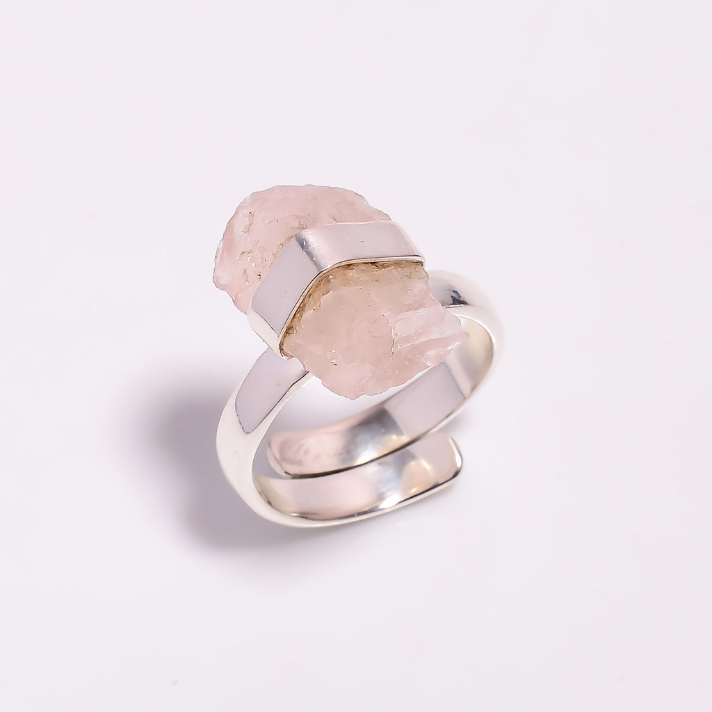 Raw Rose Quartz Wrap Sterling Silver Adjustable Ring