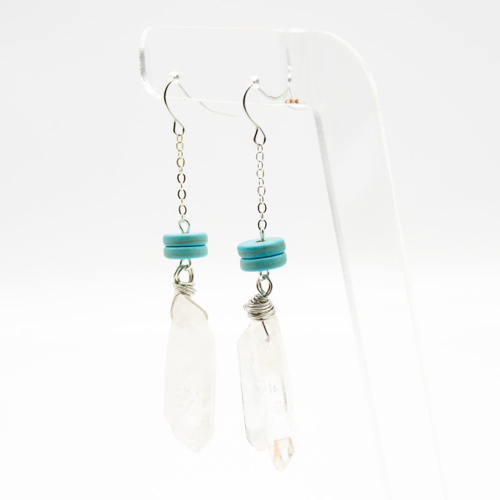 Raw Rustic Crystal Quartz & Turquoise Long Earrings