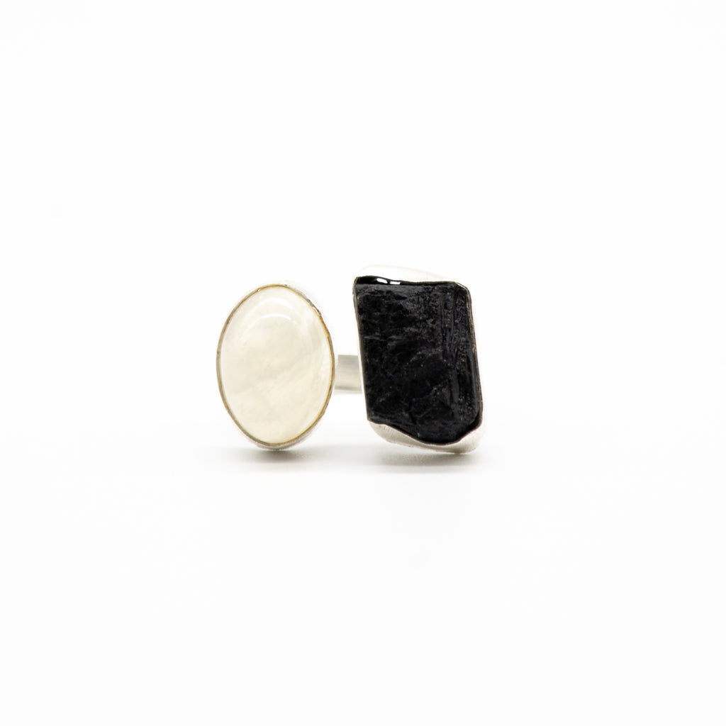 Rough Cut Black Tourmaline & Rainbow Moonstone Adjustable Ring