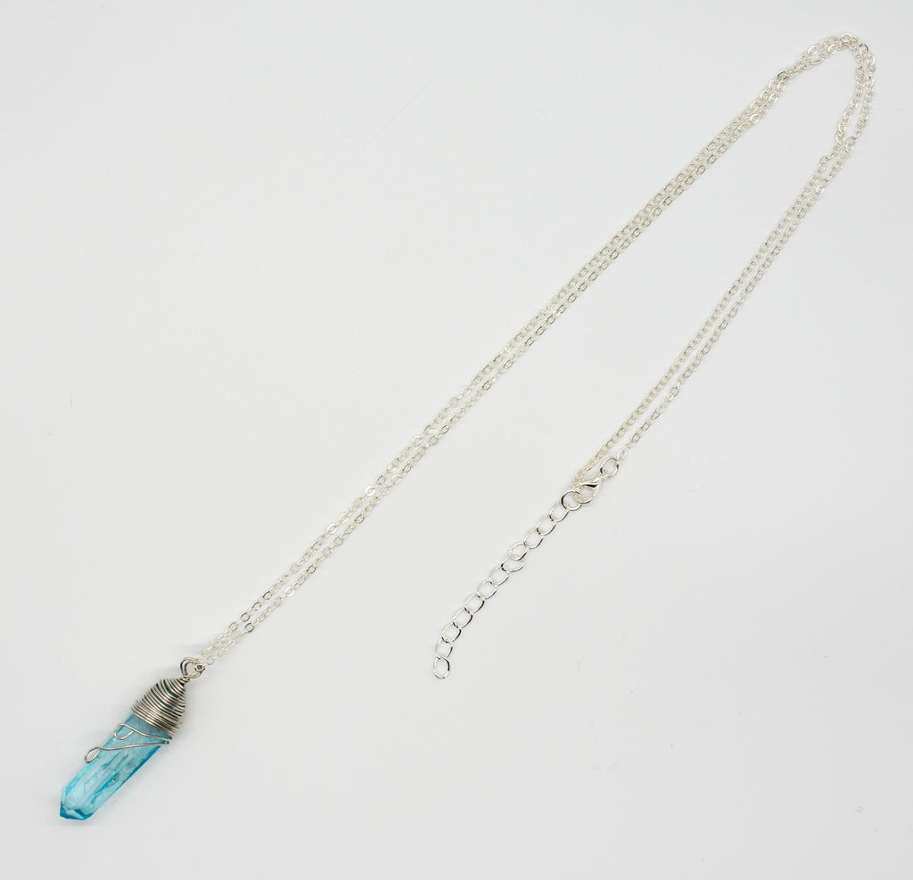 Raw Quartz Wrapped Aqua Aura Necklace