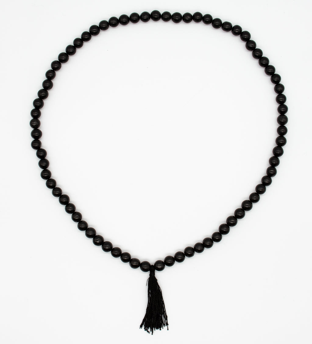 Black Onyx Mala Necklace with Tassel
