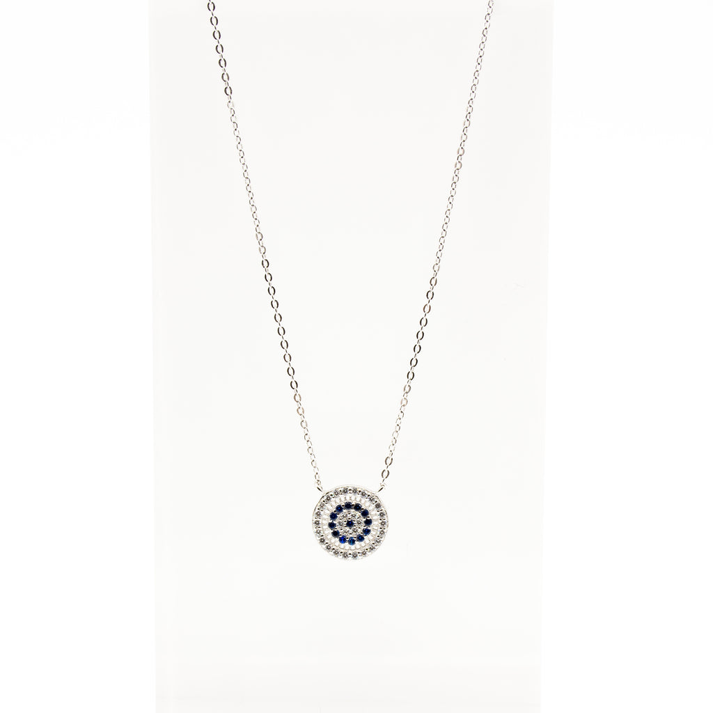 Evil Eye Blue & White Cubic Zirconia Sterling Silver Necklace