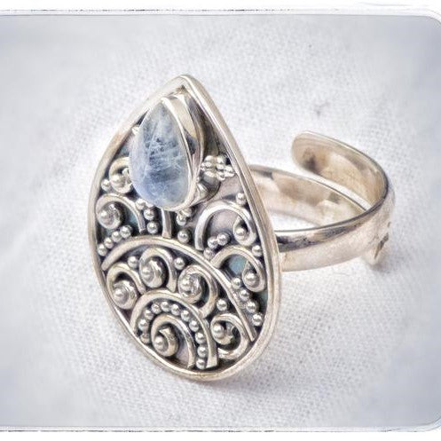 Tear Shape Moonstone Centre Adjustable Ring