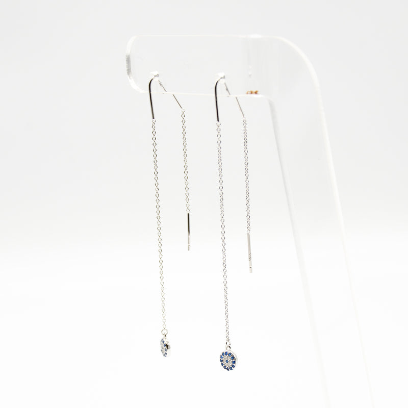 Evil Eye Cubic Zirconia Long Chain Earrings