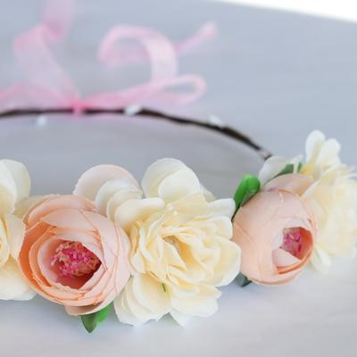 Boho Flower Crown Pastel Peach