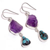 Raw Turquoise & Amethyst Sterling Silver Hanging Earrings