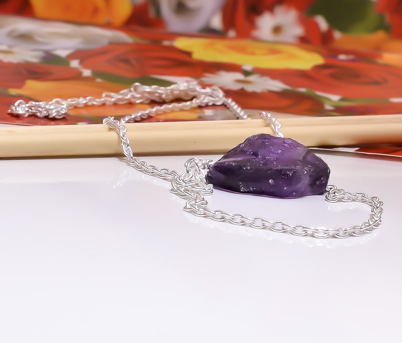 Raw Amethyst Pendant Hanging Chain Sterling Silver Necklace