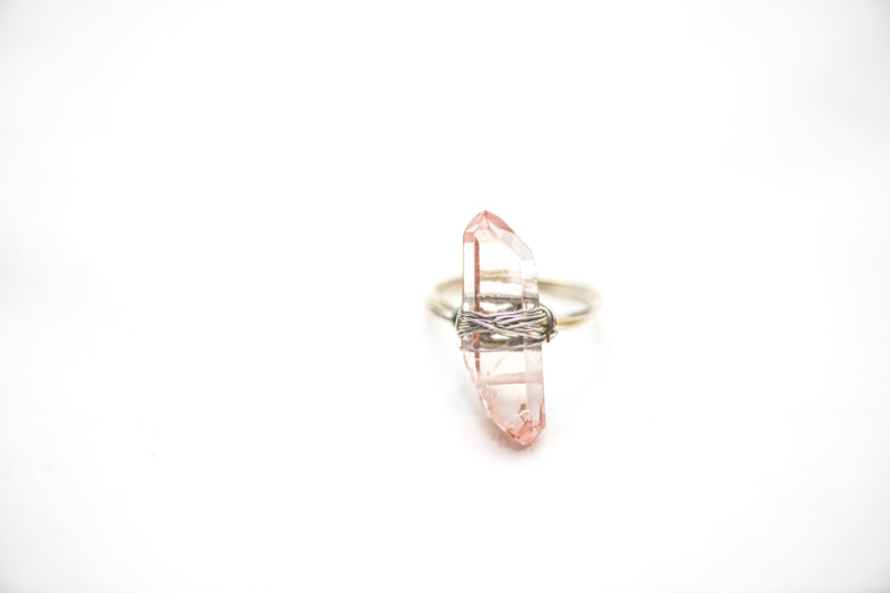Wrapped Raw Rose Aura Ring Adjustable