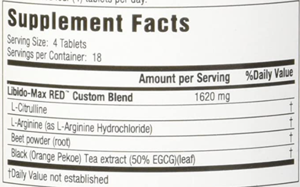 Libido Max Red Supplement Facts Label