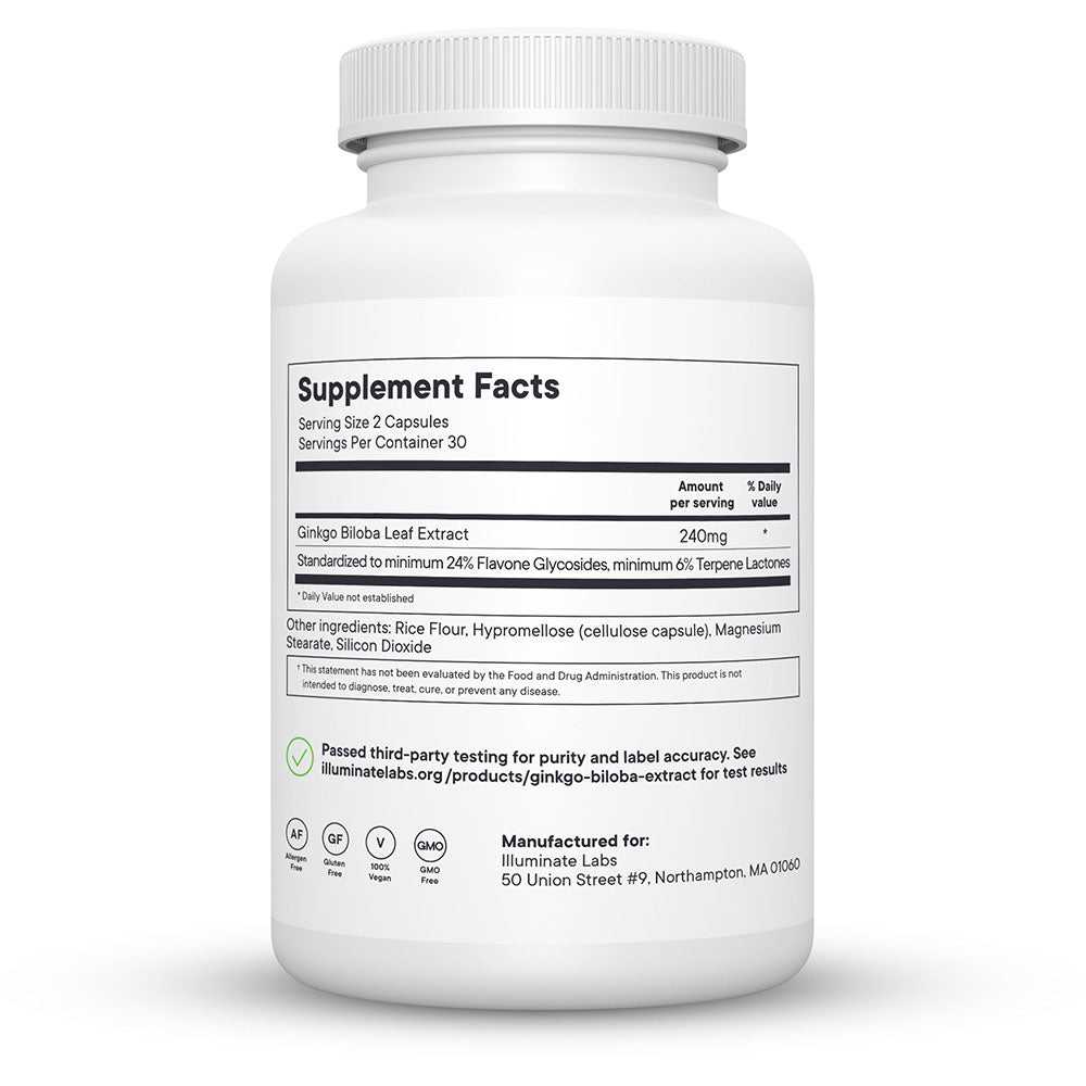 Illuminate Labs Ginkgo Biloba Extract Supplement Facts