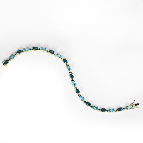 9ct Yellow Gold Blue Topaz Bracelet