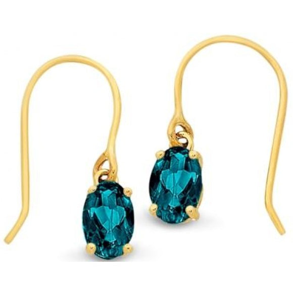 9ct London Blue Topaz Drop Earrings