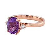 9ct Rose Gold Oval Amethyst & Diamond Ring