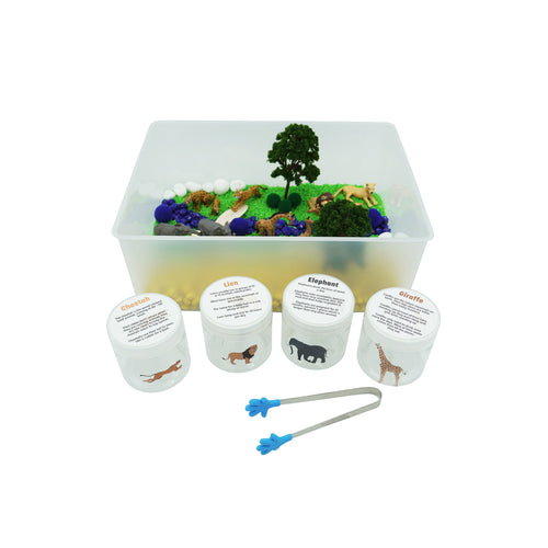 Scoop & Sort Safari - Sensory Bin - Elbirg