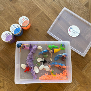 Mermaid Castle - Sensory Bin with Aqua sand - Elbirg