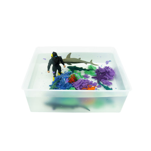 Shark Reef - Sensory Bin with Aqua sand - Elbirg
