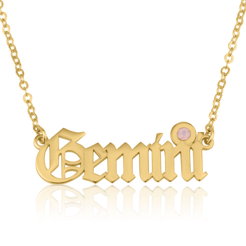 Gemini Script Necklace With Swarovski Birthstone