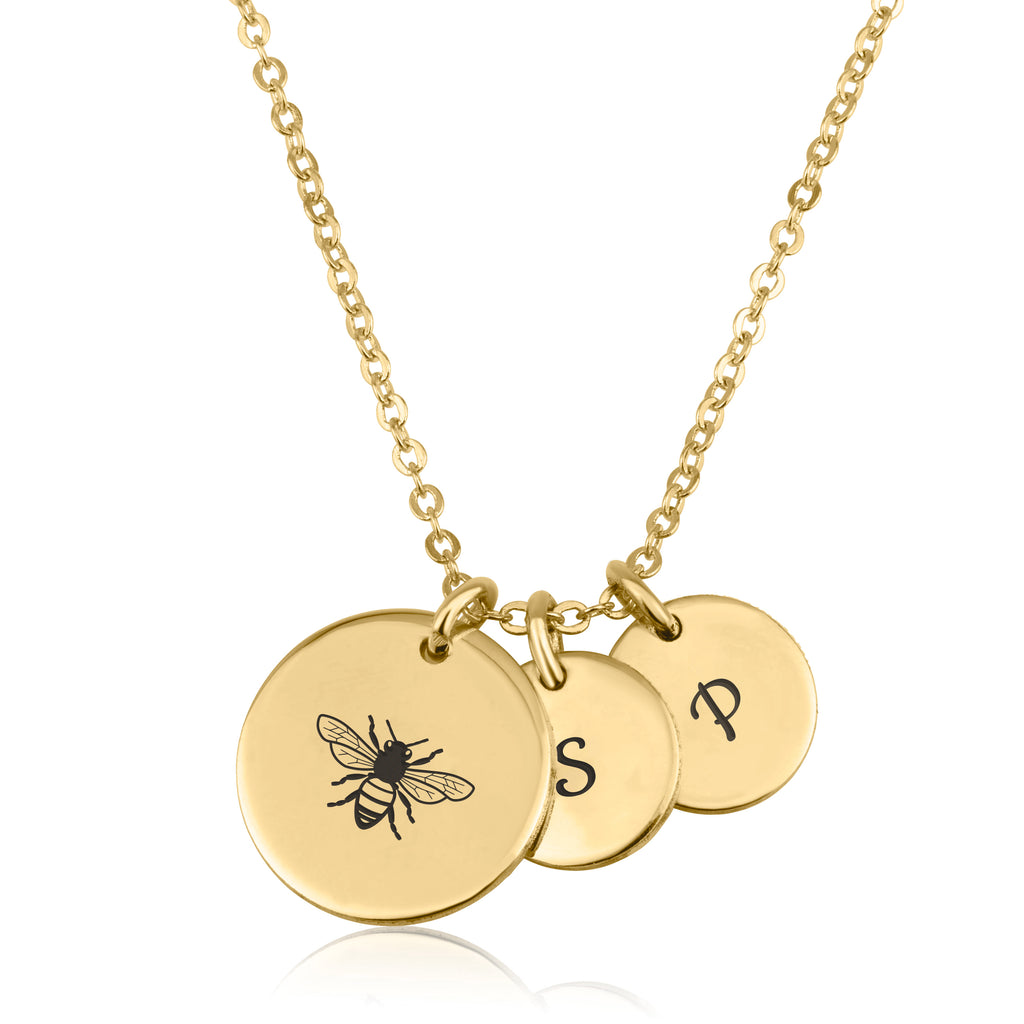 Bee Mine Necklace With Initial