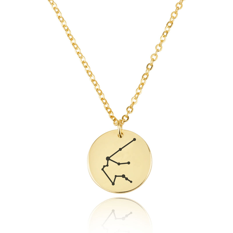 Aquarius Celestial Constellation Disk Necklace - Beleco Jewelry