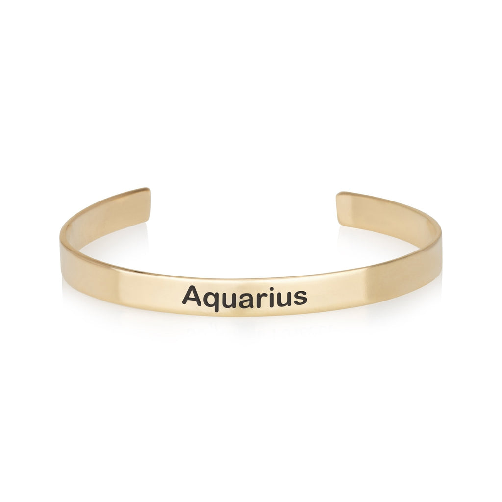 Aquarius Engraved Cuff Bracelet - Beleco Jewelry