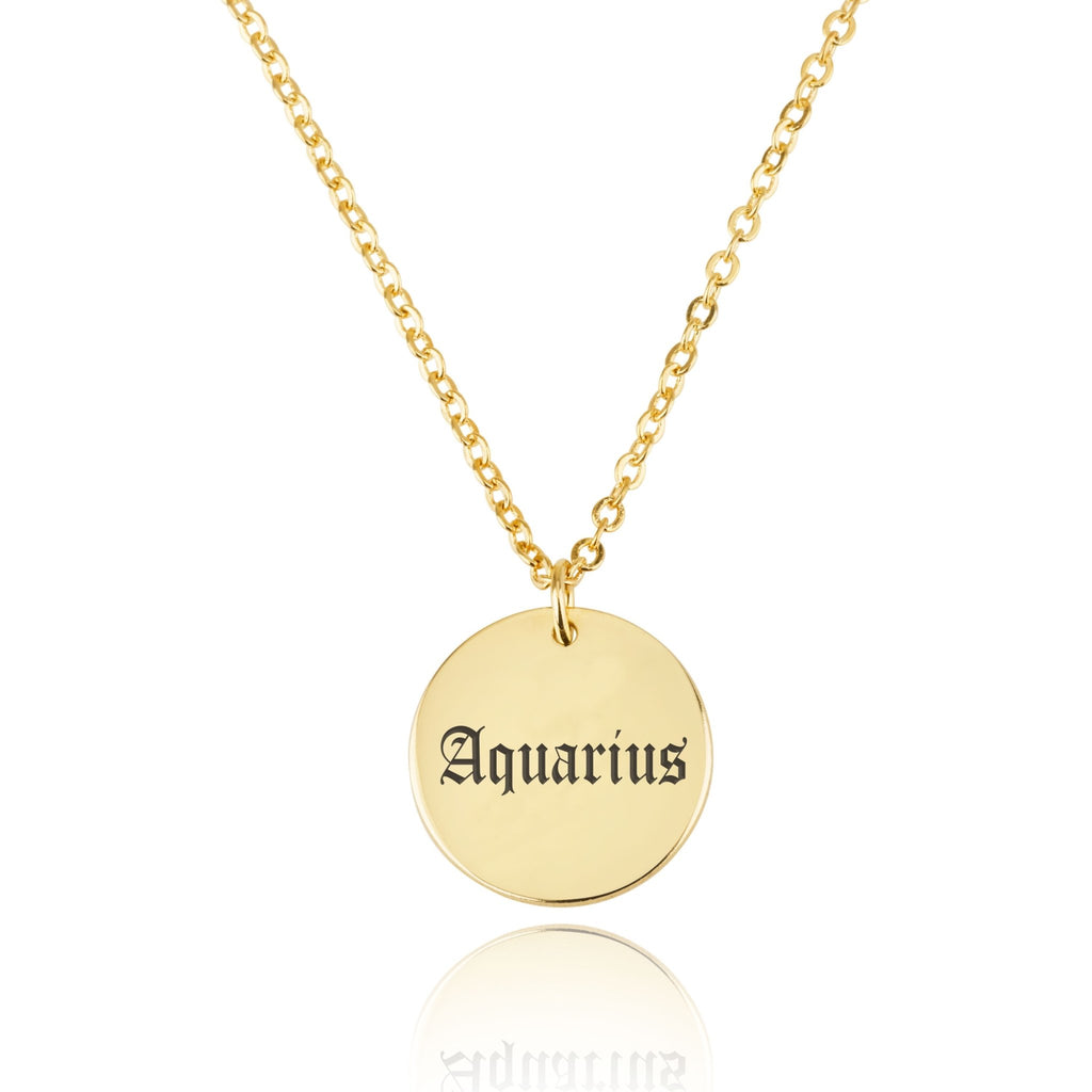 Aquarius Script Disk Necklace - Beleco Jewelry