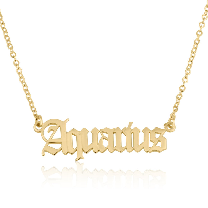 Aquarius Script Necklace - Beleco Jewelry