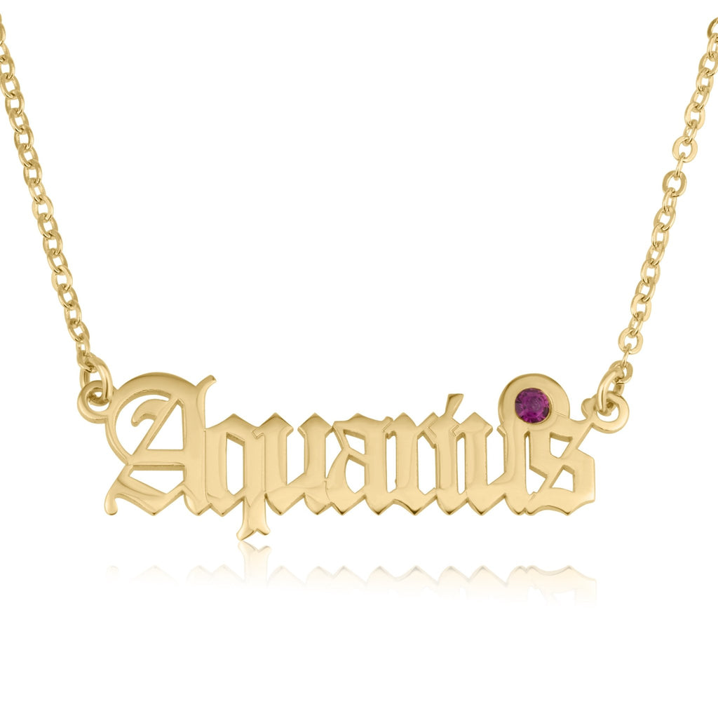 Aquarius Script Necklace With Swarovski Birthstone - Beleco Jewelry
