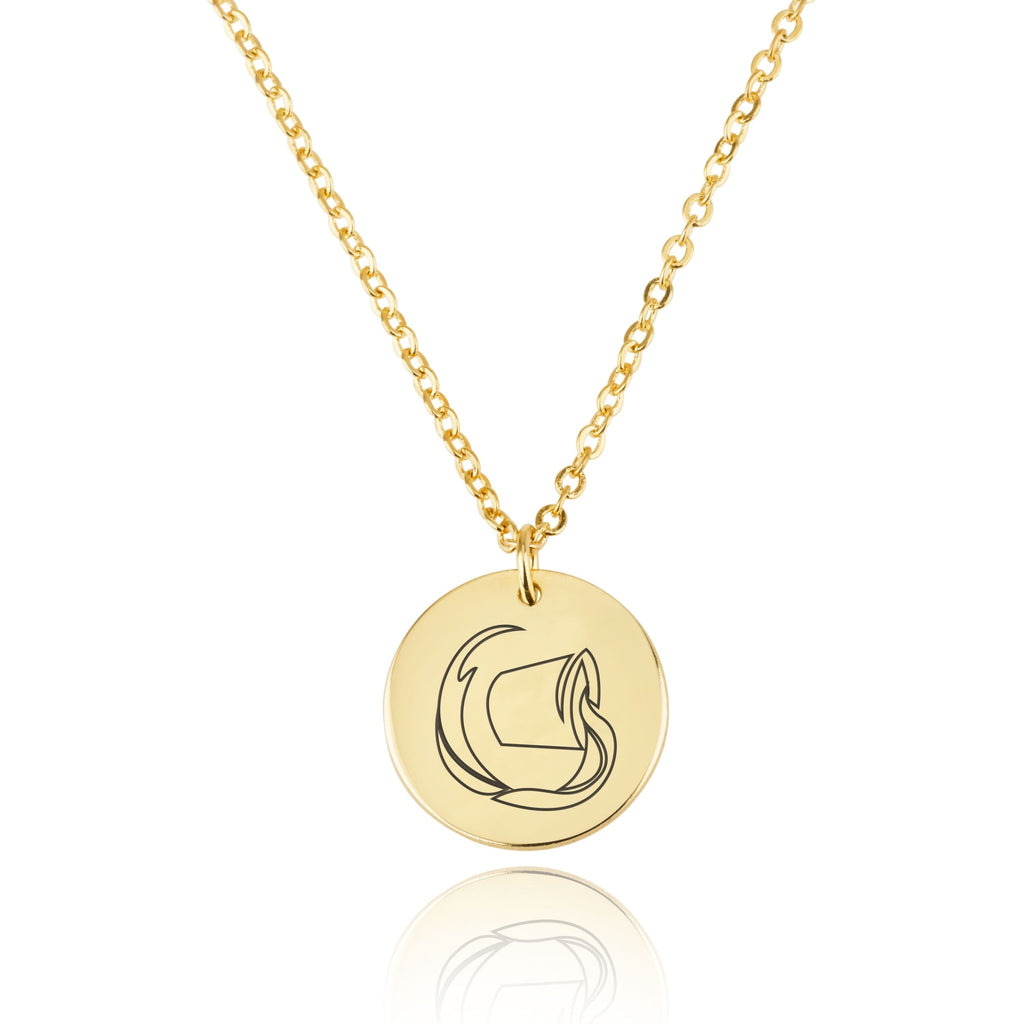 Aquarius Zodiac Disk Necklace - Beleco Jewelry