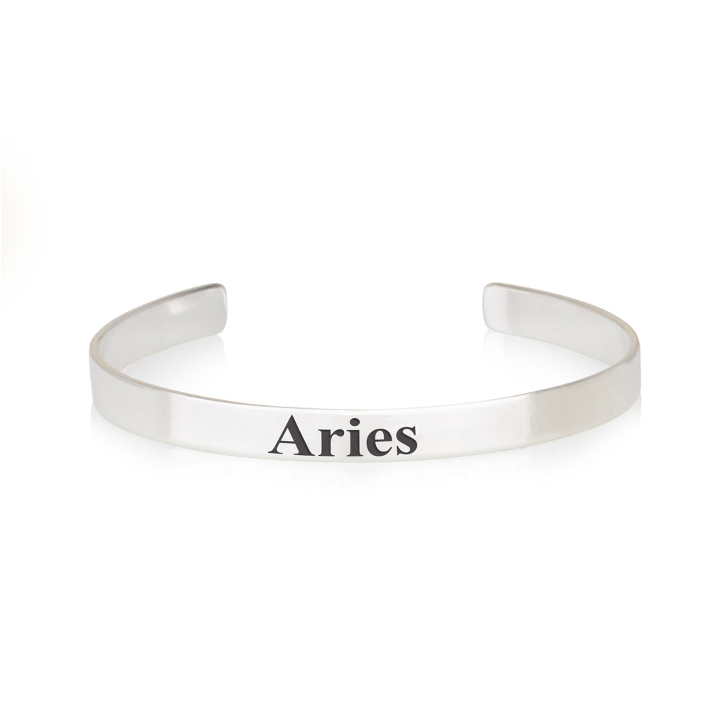 Aries Engraved Cuff Bracelet - Beleco Jewelry