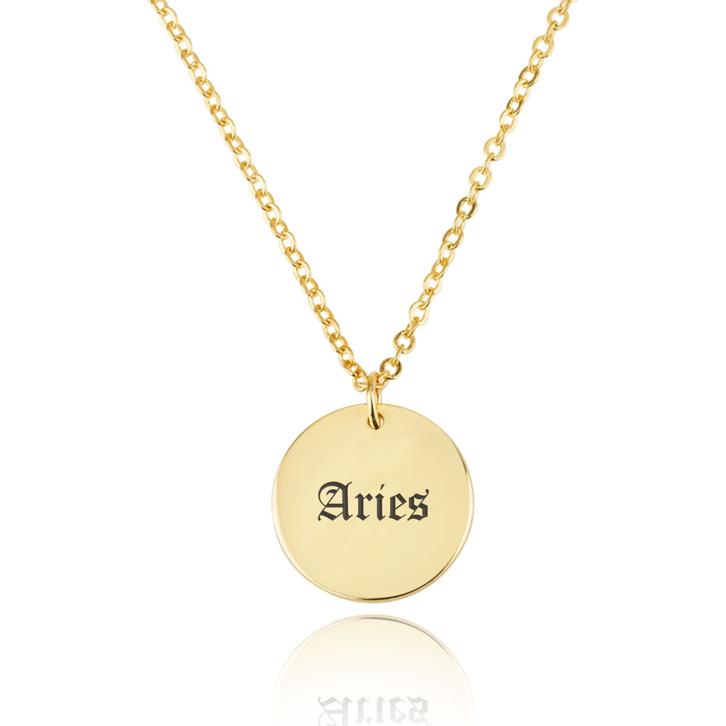 Aries Script Disk Necklace - Beleco Jewelry