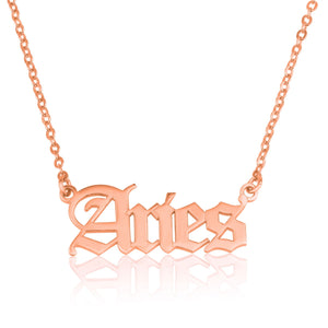 Aries Script Necklace - Beleco Jewelry