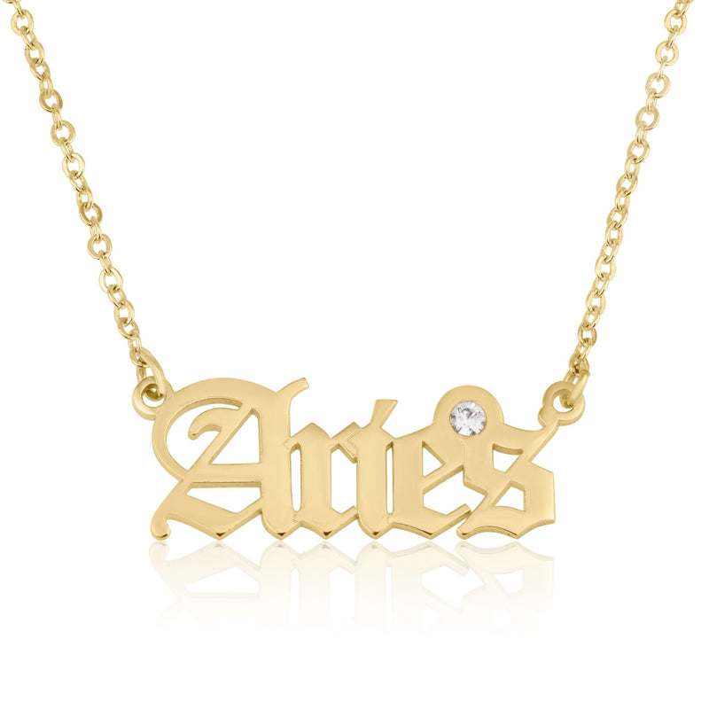 Aries Script Necklace With Swarovski Birthstone - Beleco Jewelry