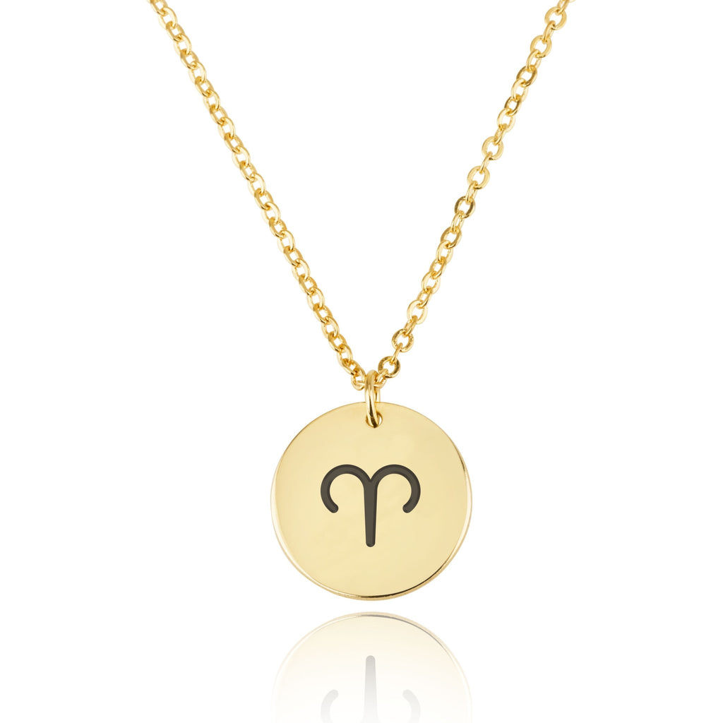 Aries Zodiac Sign Disk Necklace - Beleco Jewelry