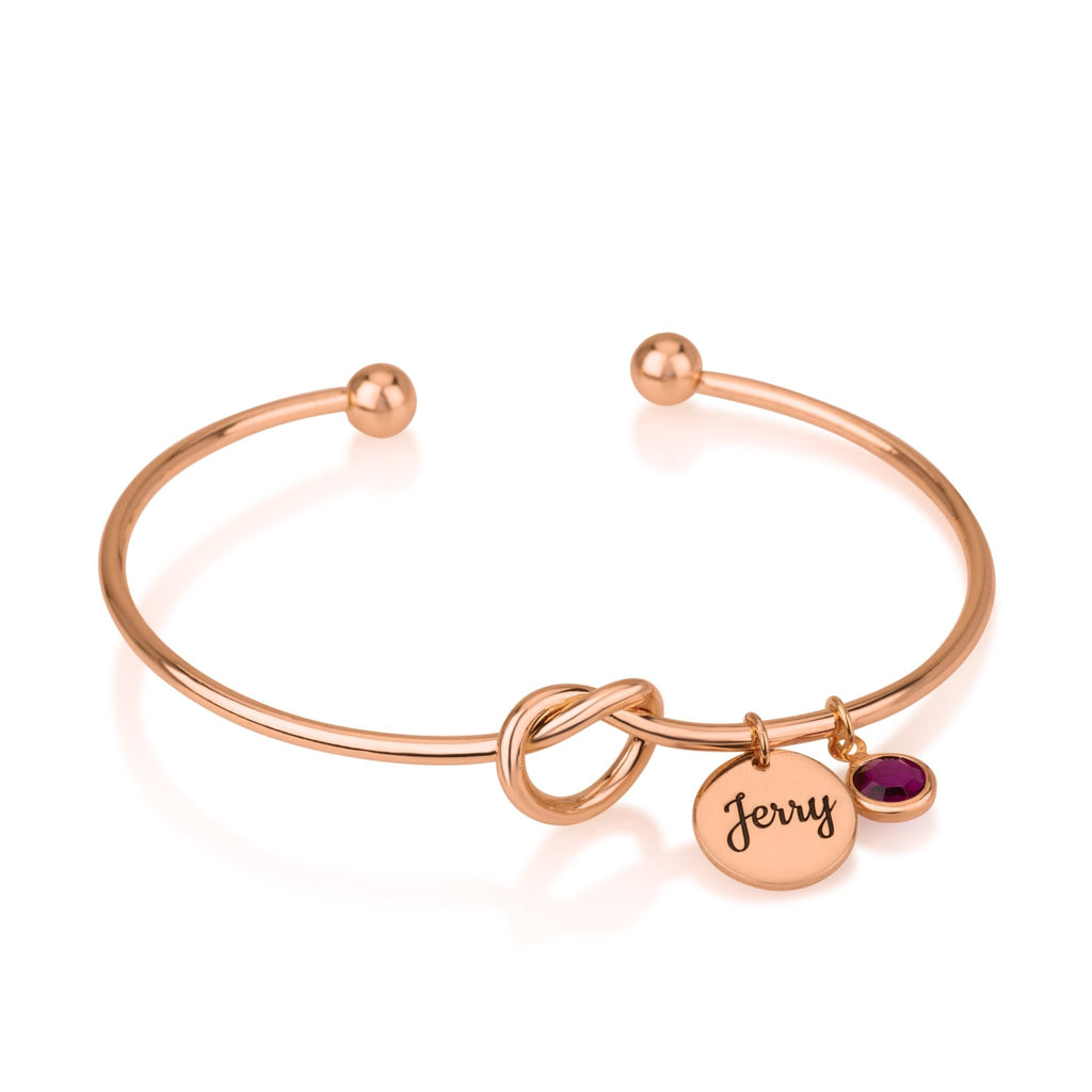 Bangle Charm Bracelet With Engraved Name And Birthstone - Beleco Jewelry