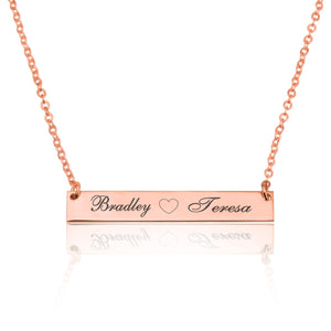 Bar Necklace With Engraved Heart And Names - Beleco Jewelry
