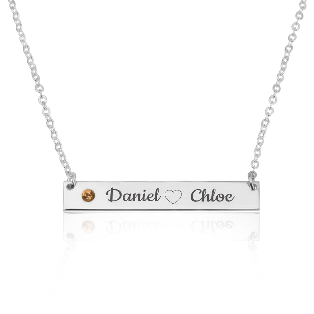 Bar Necklace With Engraved Heart, Names And Birthstone - Beleco Jewelry
