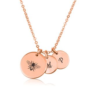 Bee Mine Necklace With Initial - Beleco Jewelry