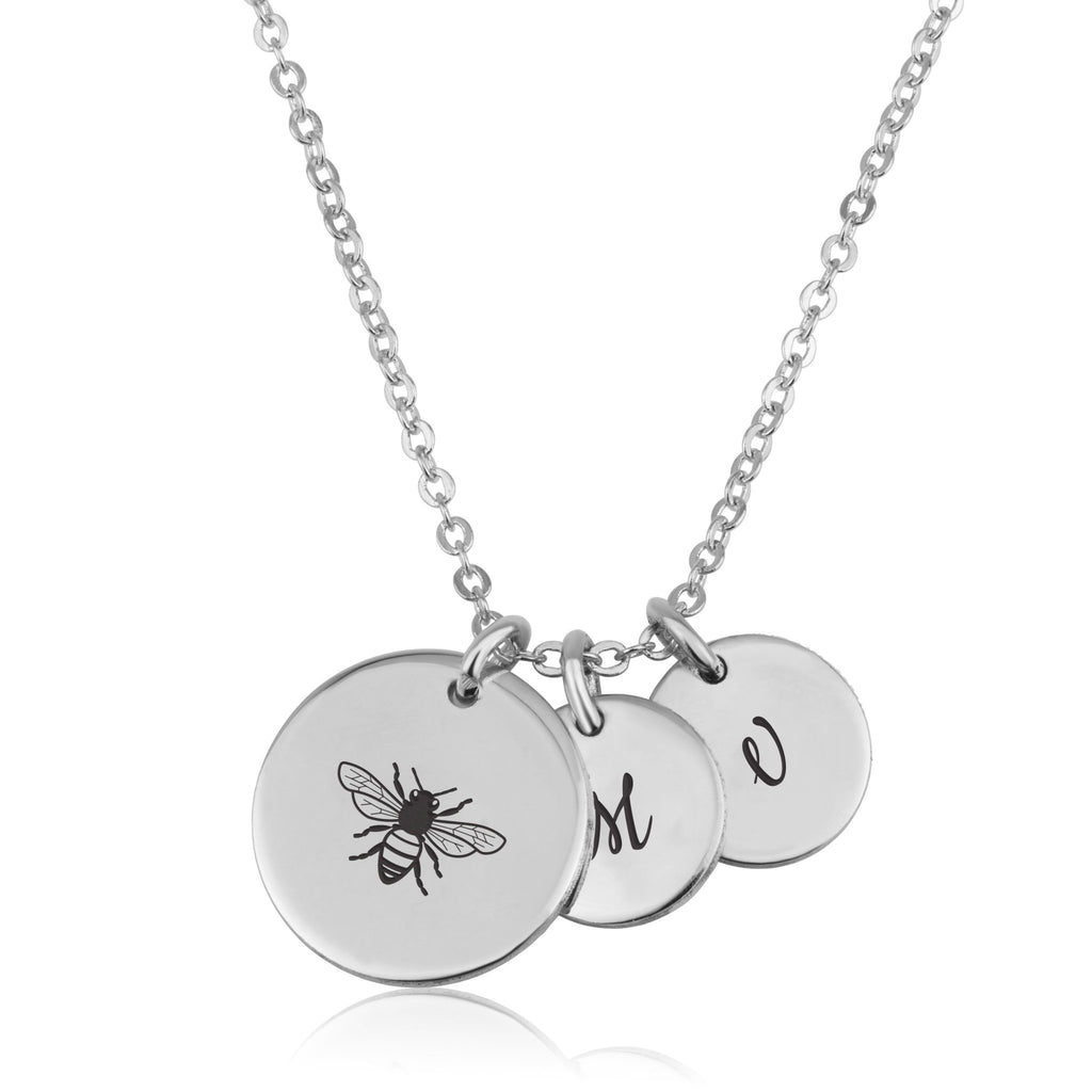 Bee Necklace With Initial - Beleco Jewelry