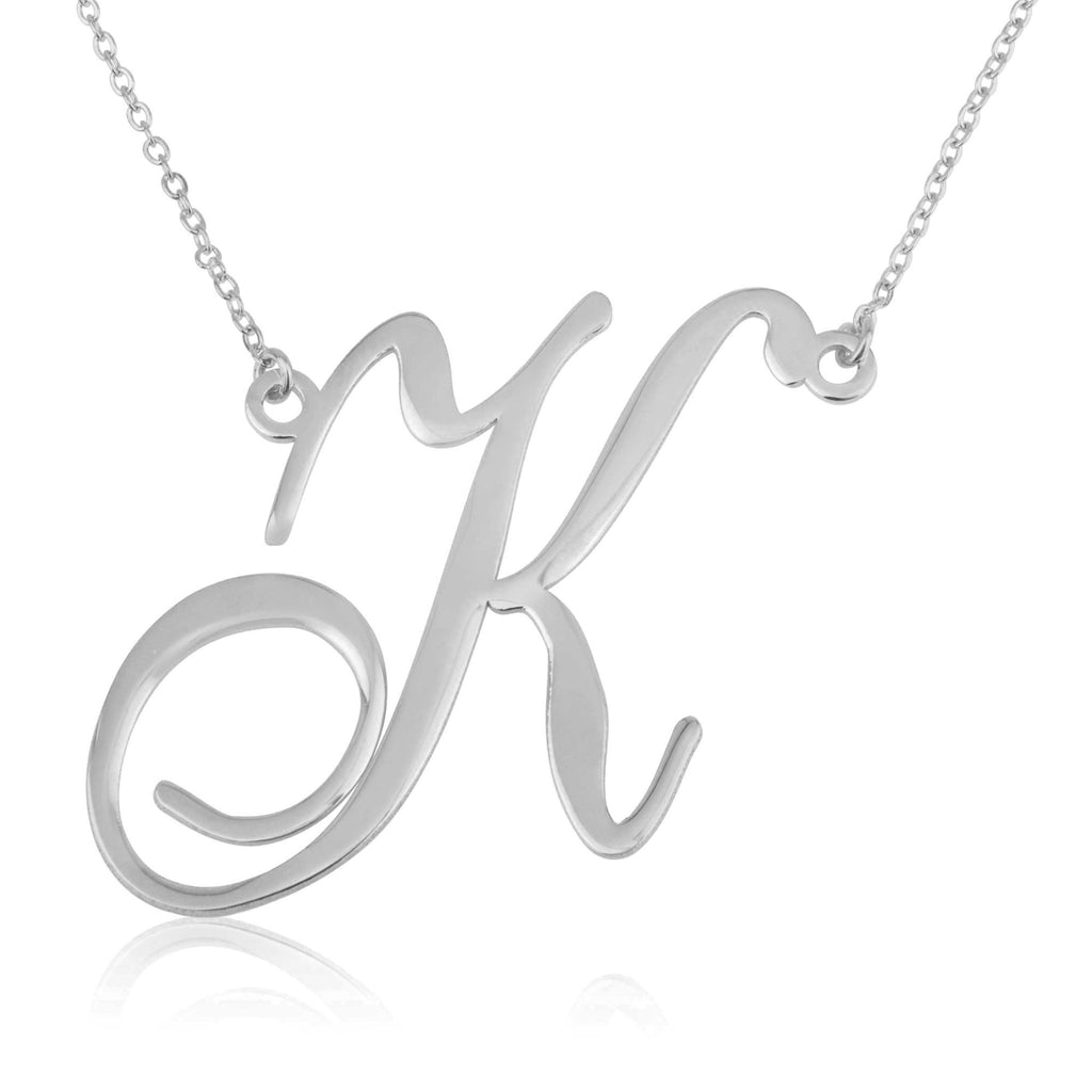 Big Letter Necklace In Cursive Font - Beleco Jewelry